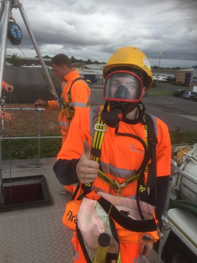 Confined spaces entry with Escape Breathing Apparatus EBA Calne Wiltshire