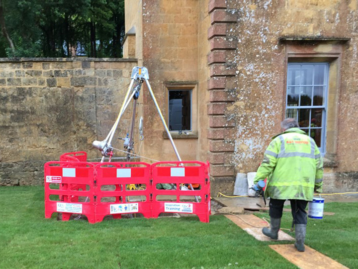 Confined spaces set up Hadspen House Somerset
