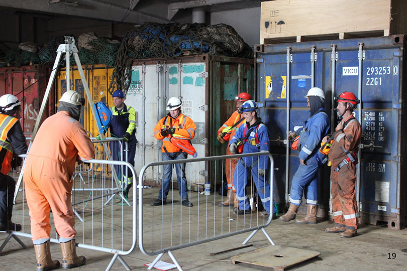Falkland Islands on site confined spaces training course with escape breathing apparatus for self rescue